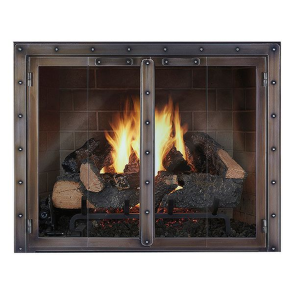 Black Rock Masonry Fireplace Glass Door image number 0