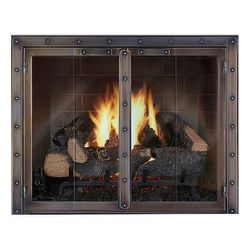 Black Rock Masonry Fireplace Glass Door