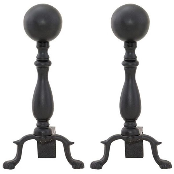Black Wrought Iron Ball Andirons image number 0