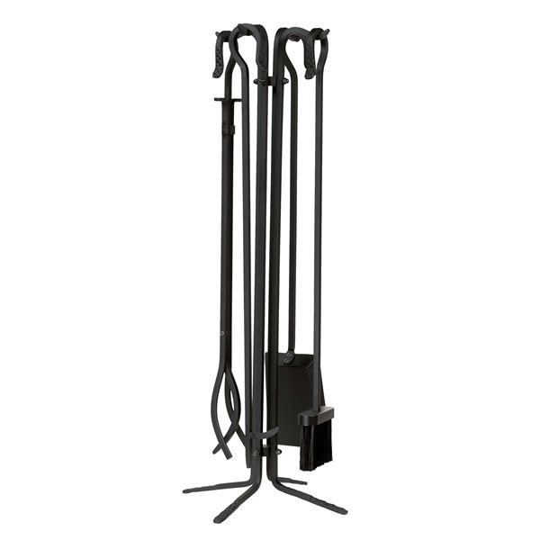 Wrought Iron Quad Stand 4 Piece Tool Set - Black image number 0