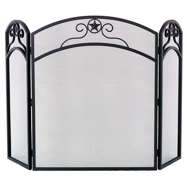 "Black Wrought Iron Star Log Fireplace Screen - 52"" x 32"" image number 0"
