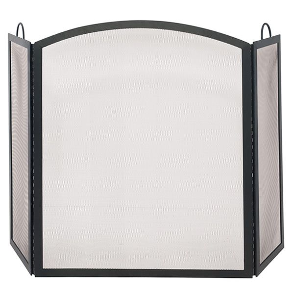 """Black Triple Panel Arch Iron Fireplace Screen - 56"""" x 36"""" image number 0"""