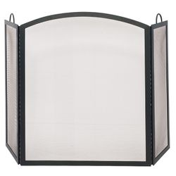 Black Triple Panel Arch Iron Fireplace Screen