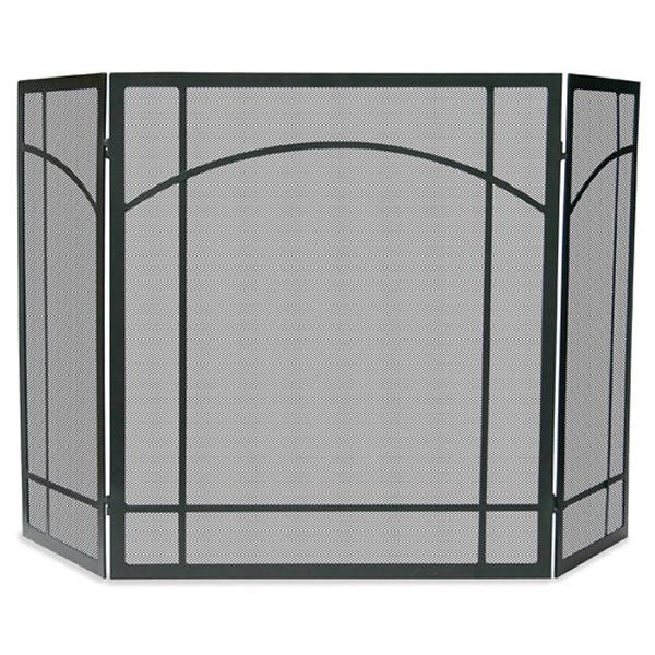 "Black Triple Panel Iron Fireplace Screen with Mission Design - 55"" x 31"" image number 0"
