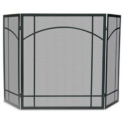 Black Triple Panel Iron Fireplace Screen with Mission Design