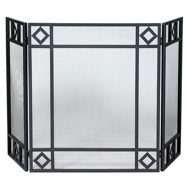 "Black Triple Panel Iron Fireplace Screen with Diamond Design - 52"" x 30"" image number 0"