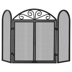 Black Triple Panel Wrought Iron Fireplace Screen with Doors
