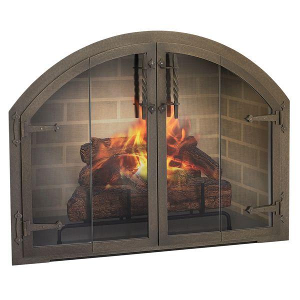 Blacksmith Arch Masonry Fireplace Glass Door image number 0