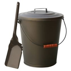 Bronze Fireplace Ash Bin with Lid and Shovel