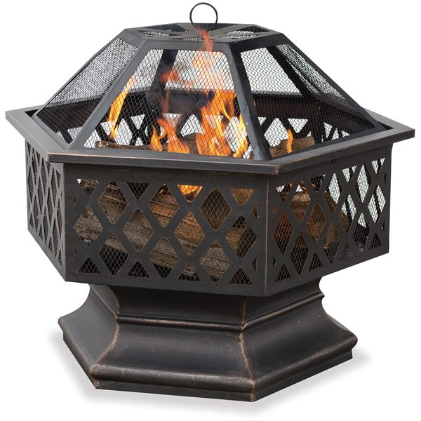 Bronze Hex Shaped Outdoor Firebowl with Lattice image number 0