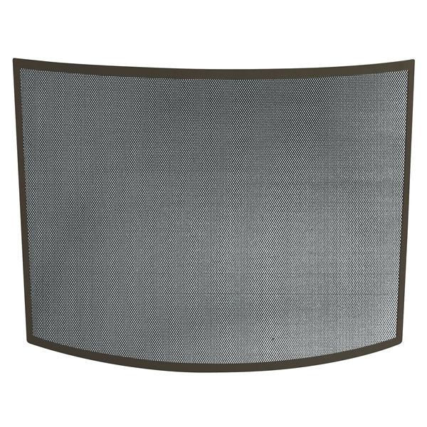 "Bronze Single Panel Bowed Fireplace Screen - 41"" x 31"" image number 0"