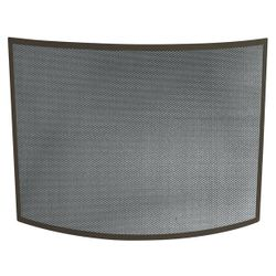 Bronze Single Panel Bowed Fireplace Screen