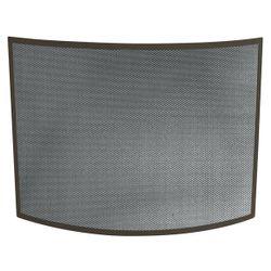 Bronze Single Panel Bowed Fireplace Screen