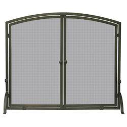 Bronze Single Panel Fireplace Screen with Doors