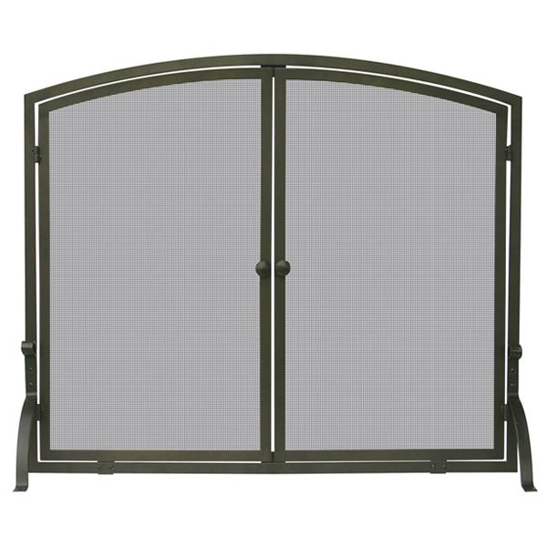 "Bronze Single Panel Fireplace Screen with Doors - 39"" x 33"" image number 0"