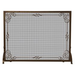 Bronze Single Panel Screen with Decorative Scroll