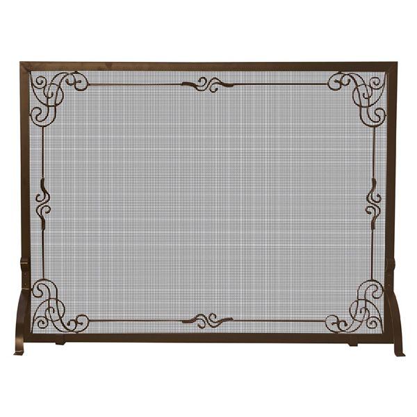 "Bronze Single Panel Screen with Decorative Scroll - 44"" x 33"" image number 0"