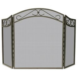 Bronze Triple Panel Wrought Iron Screen with Scrollwork