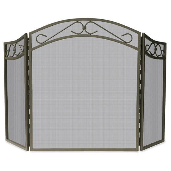 "Bronze Triple Panel Wrought Iron Screen with Scrollwork - 51 1/2"" x 31"" image number 0"