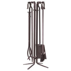 Bronze Wrought Iron Quad Stand 4 Piece Tool Set