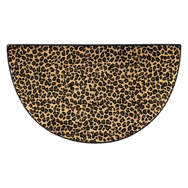 Brown Leopard Safari Collection Half Round Nylon Rug - 4' image number 0