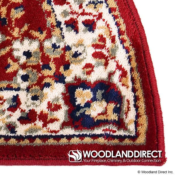 "Burgundy Oriental Half Round Wool Fireplace Hearth Rug - 44""x22"" image number 1"
