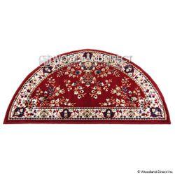 "Burgundy Oriental 44""x22"" Half Round Wool Fireplace Rug"