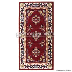 "Burgundy Oriental 44""x22"" Rectangular Wool Fireplace Rug"
