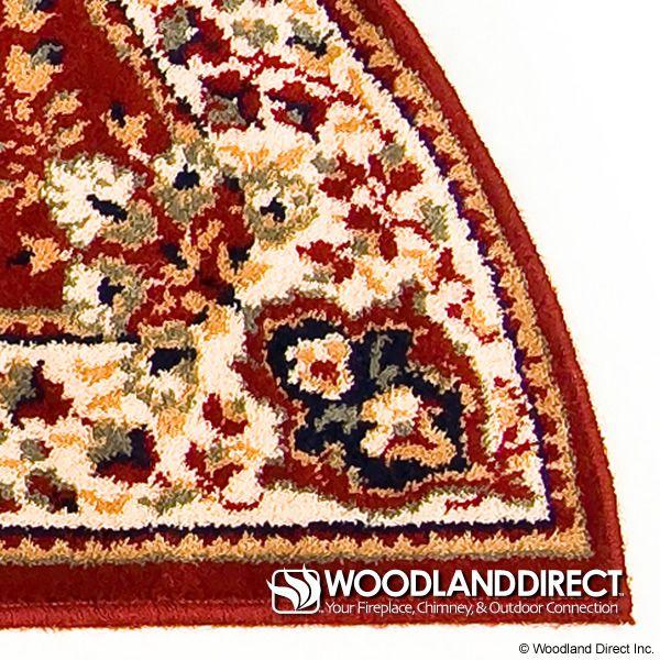 "Burgundy Oriental Half Round Wool Hearth Rug - 56""x26"" image number 1"