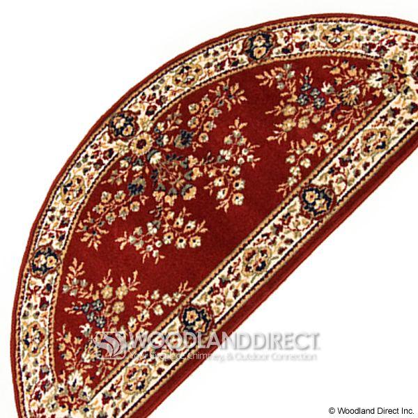 "Burgundy Oriental Half Round Wool Hearth Rug - 56""x26"" image number 2"