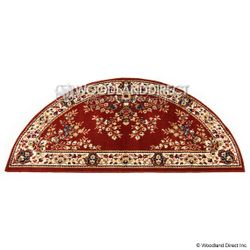 "Burgundy Oriental 56""x26"" Half Round Wool Hearth Rug"