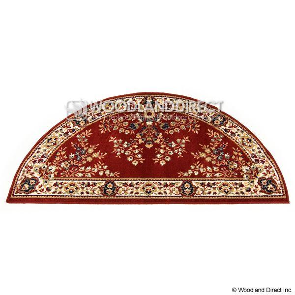 "Burgundy Oriental Half Round Wool Hearth Rug - 56""x26"" image number 0"