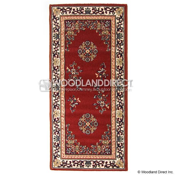 "Burgundy Oriental Rectangular Wool Hearth Rug - 56""x26"" image number 0"