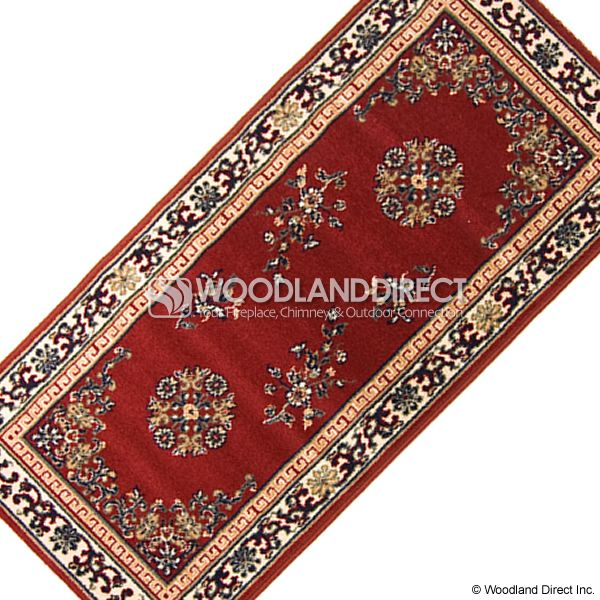 "Burgundy Oriental Rectangular Wool Hearth Rug - 56""x26"" image number 2"