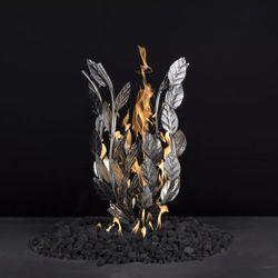 "Burning Bush Gas Fire Pit Burner - 12"" x 18"" Match Lit"