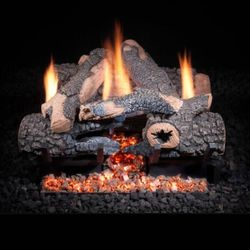 Golden Blount Charred Bonfire Ventless Gas Log Set