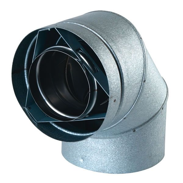 """Galvalume 90 Degree Direct Vent Pipe Elbow - 4"""" Dia image number 0"""