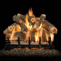Grand Canyon AZ Weathered Oak See Thru Outdoor Gas Log Set