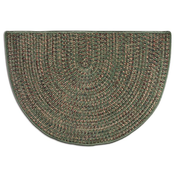 Green Multi-Colored Braided Fireplace Hearth Rug - 4' image number 0