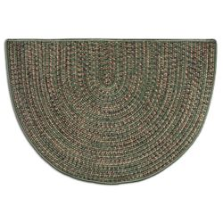 Green - Multi-Colored Braided 4' Fireplace Hearth Rugs