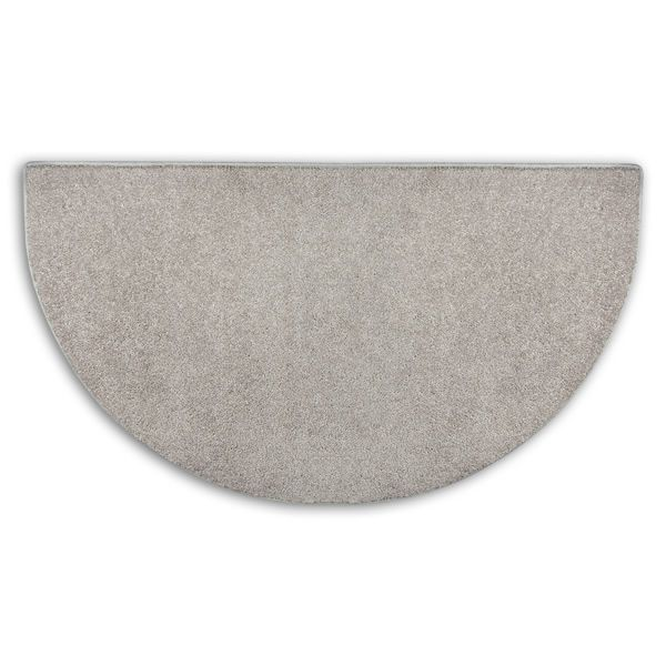 Grey Flame Half Round Polyester Fireplace Hearth Rug - 4' image number 0