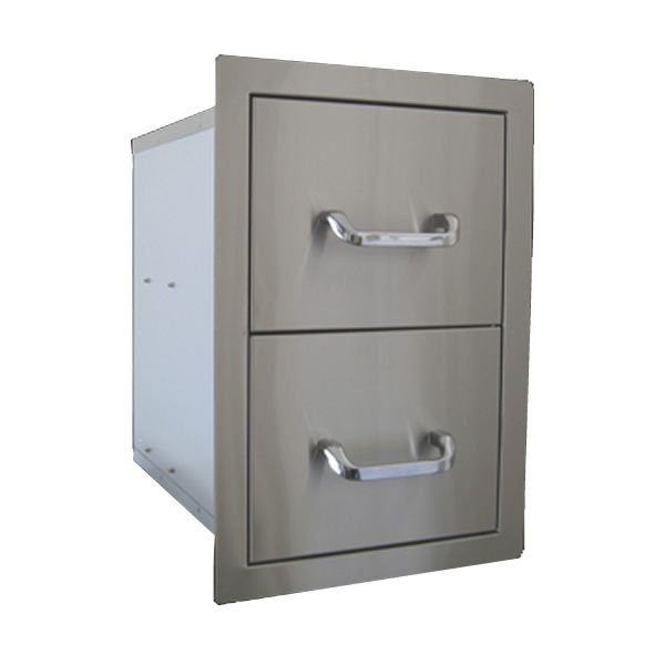 "Double Stainless Steel Drawer - 15"" x 22"" image number 0"