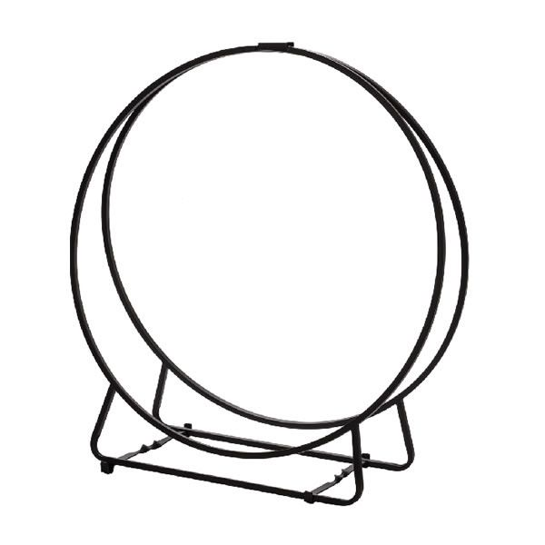 """Dagan Black Steel Hoop Wood Holder - 24"""" image number 0"""