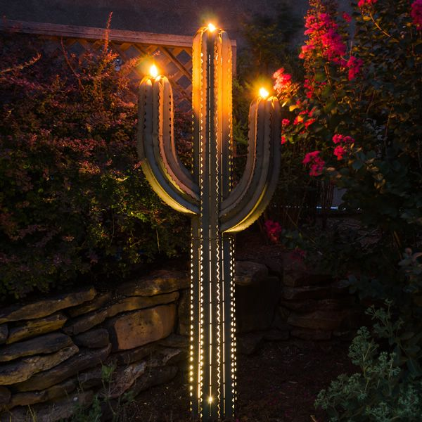 Desert Steel Saguaro Cactus Torch - 5 ft image number 3