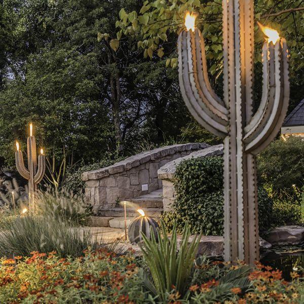 Desert Steel Saguaro Cactus Torch - 6 1/2 ft image number 1