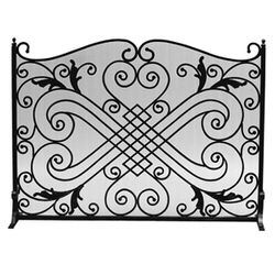 Diamond and Scroll Black Wrought Iron Single Panel Screen