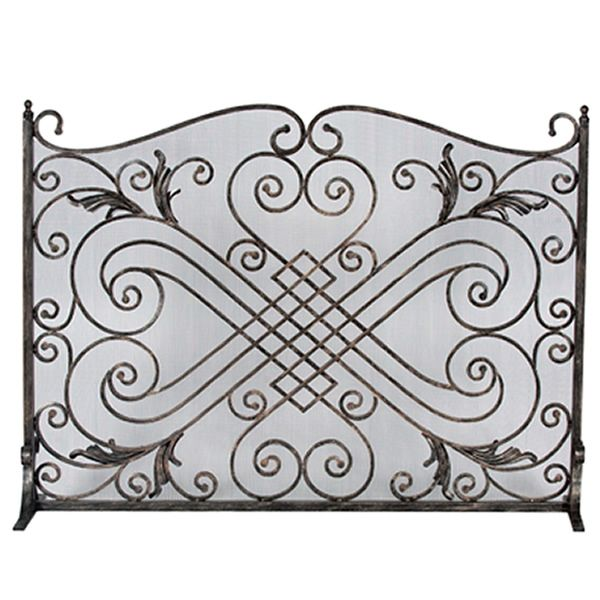 "Diamond and Scroll Bronze Wrought Iron Single Panel Screen - 44"" x 33"" image number 0"