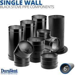 "6"" Diameter DuraVent DuraBlack Single-Wall Stove Pipe Components"