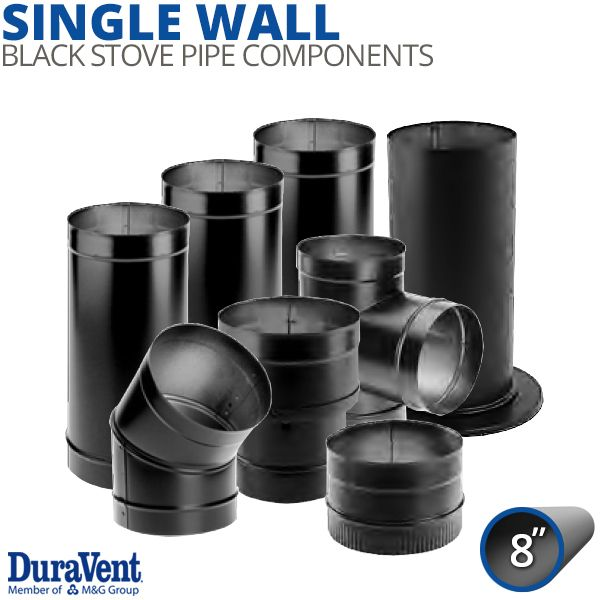 """8"""" Diameter DuraVent DuraBlack Single-Wall Stove Pipe Components image number 0"""