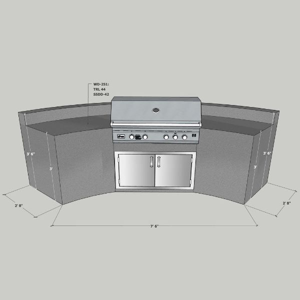 EOK Modular Curved Outdoor Kitchen with  Back Splash image number 0